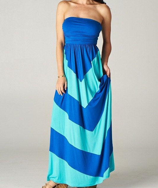 Womens Maxi Dress Turquoise and Royal Blue Strapless Long Length ...