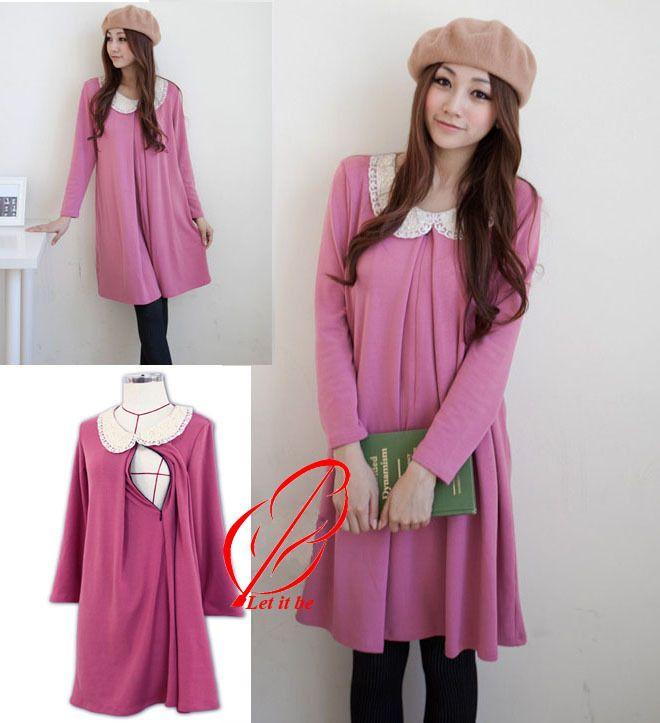 Beautiful fashion office wear Cotton Long Sleeve Pregnancy dress ...