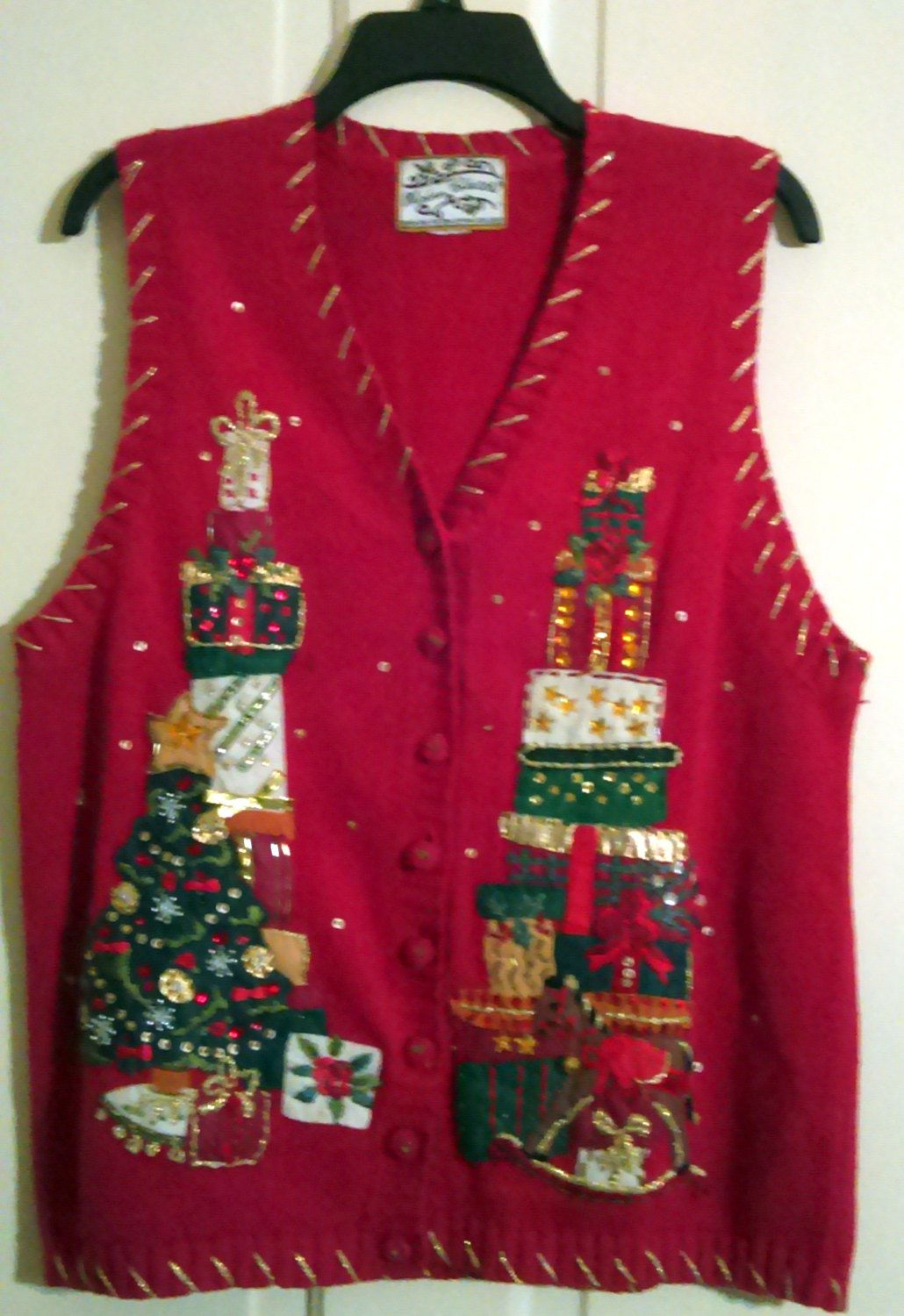 """Heirloom Collectibles Appliqued Christmas Tree & Rocking Horse and Gifts Ugly Sweater Vest Bust 38"""" by AntiquesandStuff56 on Etsy"""