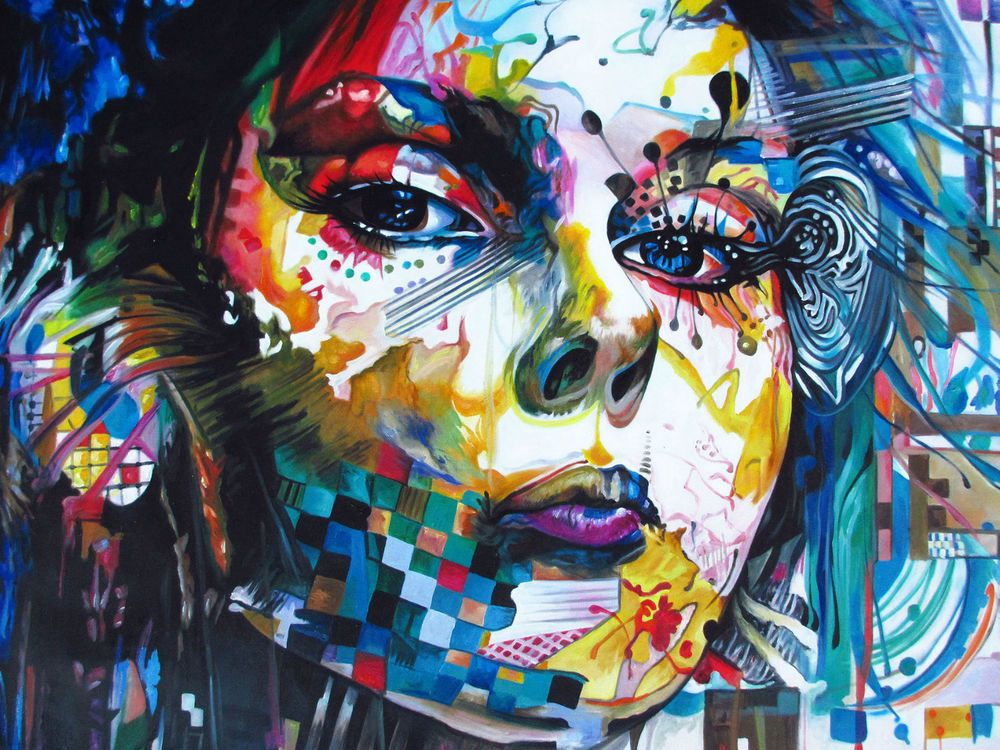 160cm graffiti canvas painting modern urban princess