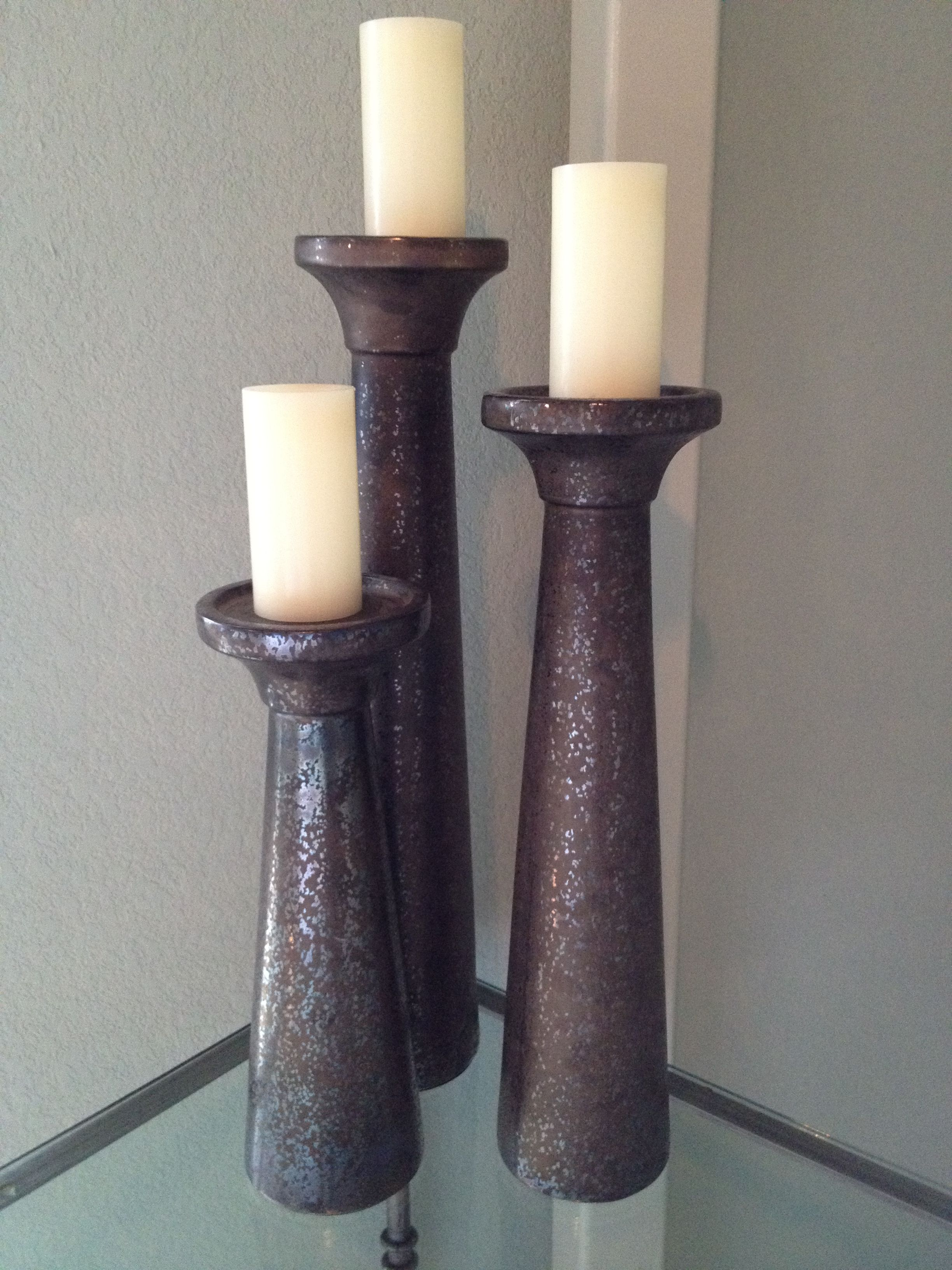 wrought iron candle holder trio