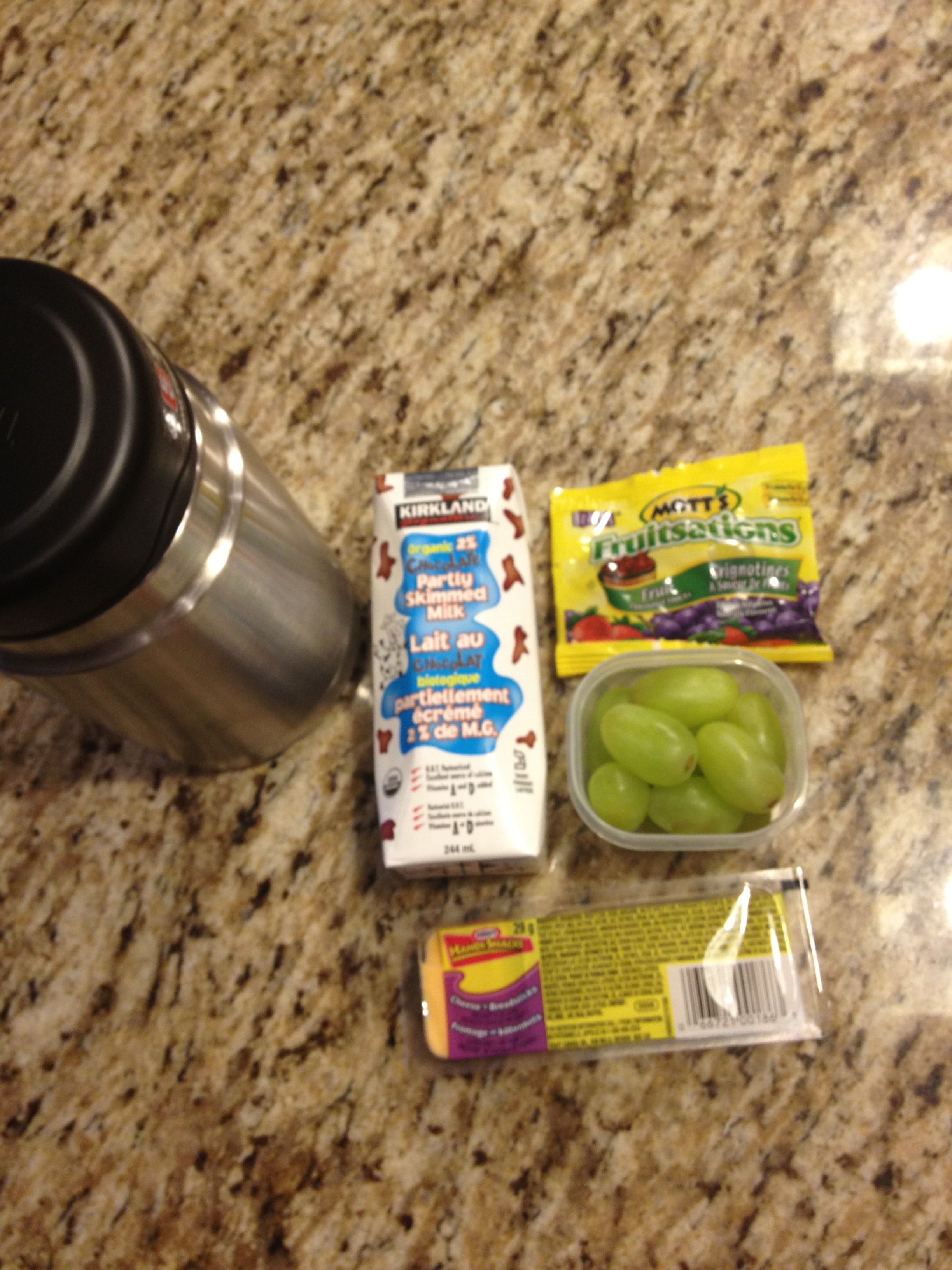 Day 11- spaghetti, chocolate milk, fruit snacks, grapes, cheese and crackers