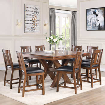 Magnus 9 Piece Counter Height Dining Set Counter Height Dining Sets Counter Height Dining Table Set Counter Height Dining Room Tables
