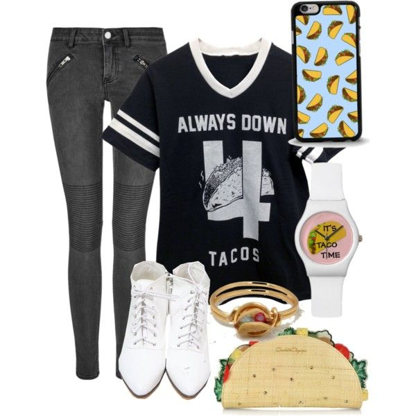 Tacos by epicwarriorcats on Polyvore featuring BLK DNM, Charlotte Olympia and Forever 21