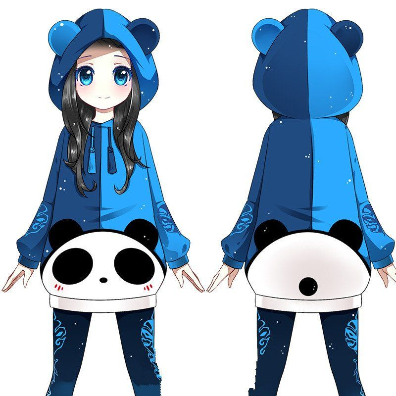 Kawaii Cartoon Panda Hooded Fleece Se8231 Cartoon Panda Kawaii