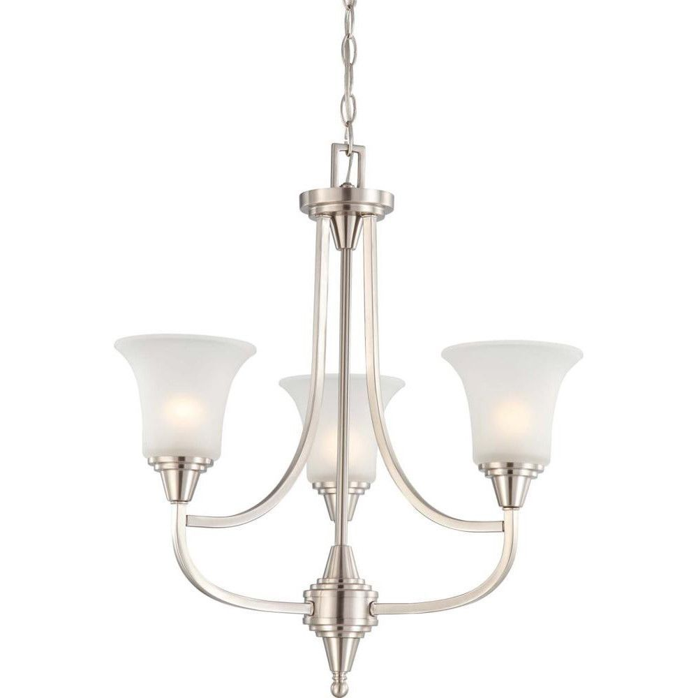 Nuvo Surrey 3 Light Chandelier W Frosted Glass 3 Light Chandelier Brushed Nickel Chandelier Mini Chandelier