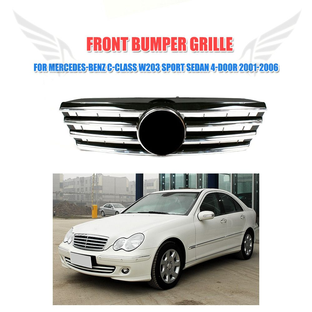 hight resolution of w203 front bumper grille black mesh grill fit for mercedes benz c class w203 c230 c240 c320 sport 4 door 2001 2006 with emblem
