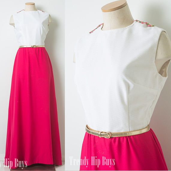 Vintage 60s Dress 60s Maxi Dress Fuchsia Pink Dress Mad Men
