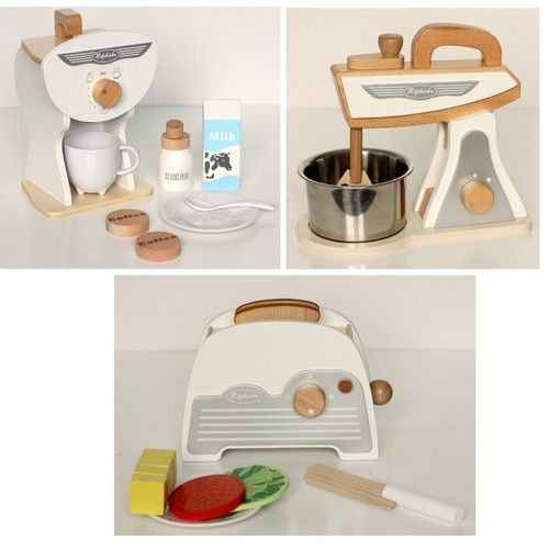 White Retro Toy Kitchen Accessories Set 3pk For Kids Toy
