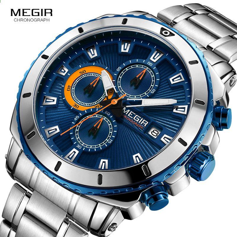 ff3846dac MEGIR 2018 Nowy zegarek kwarcowy Luminous Fashion Sport zegarki ze stali  nierdzewnej 3ATM Wodoodporny zegarek chronograf