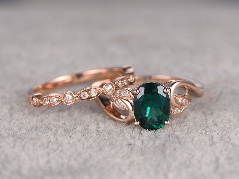 2pcs Emerald Engagement ring Set!14k rose gold,Diamond wedding band,6x8mm Oval Cut,Bridal Ring,Floral leaf,Art Deco,Lab-Treated Green stone by popRing on Etsy