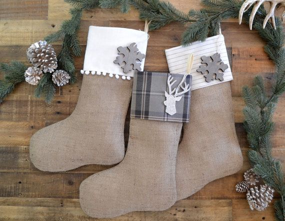 personalized family christmas stockings gray set of 3 stockings burlap stockings neutral stockings christmas stocking set