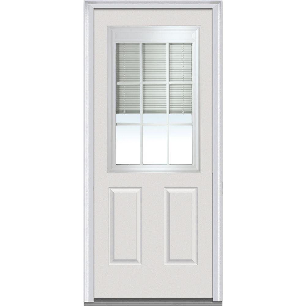 MMI Door 34 In. X 80 In. RLB With GBG Left Hand 1/2 Lite 2 Panel Classic  Primed Fiberglass Smooth Prehung Front Door