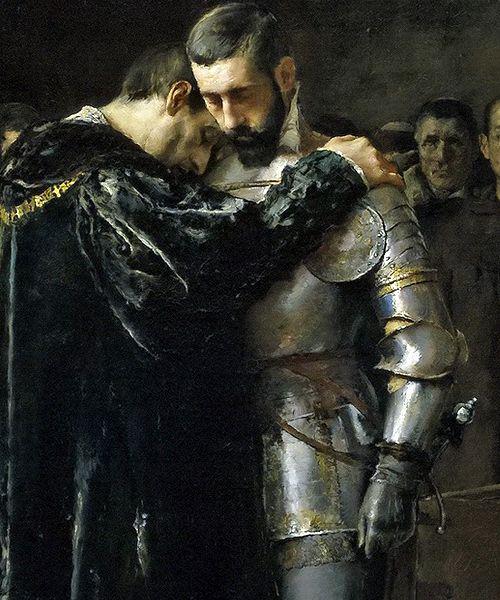 """José Moreno Carbonero - Conversión del Duque de Gandía (The Conversion of the Duke of Gandia) [1884] detail """""""