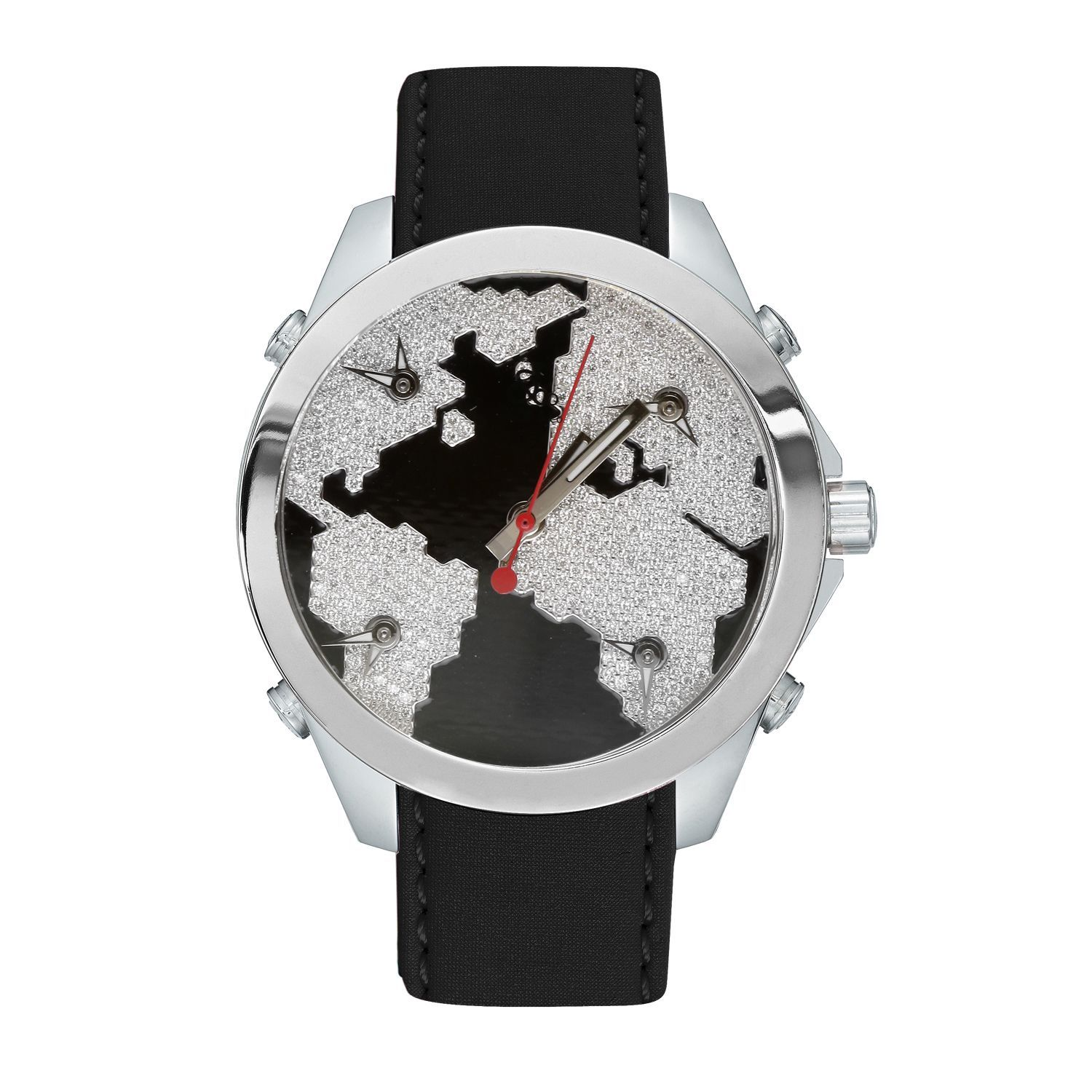 Jacob   Company JCM47SBK Five Time Zone World Is Yours Watch ... 0c5751d8dc