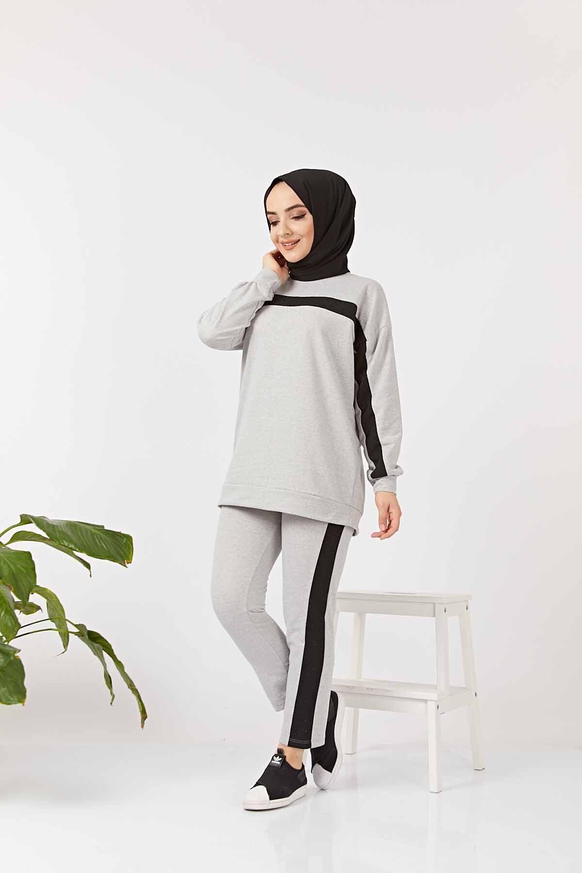 Serit Detayli Ikili Tesettur Takim Gri 2020 Moda Stilleri Moda Pantolon