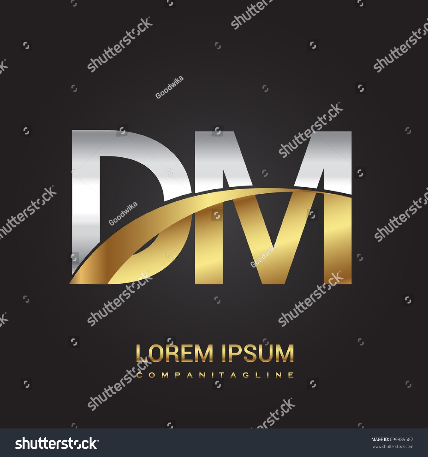 Initial Letter DM Logotype Company Name Colored Gold And