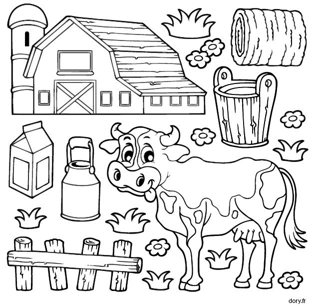 Dessin à colorier, une vache à la ferme | Színezők-feladatlapok ...