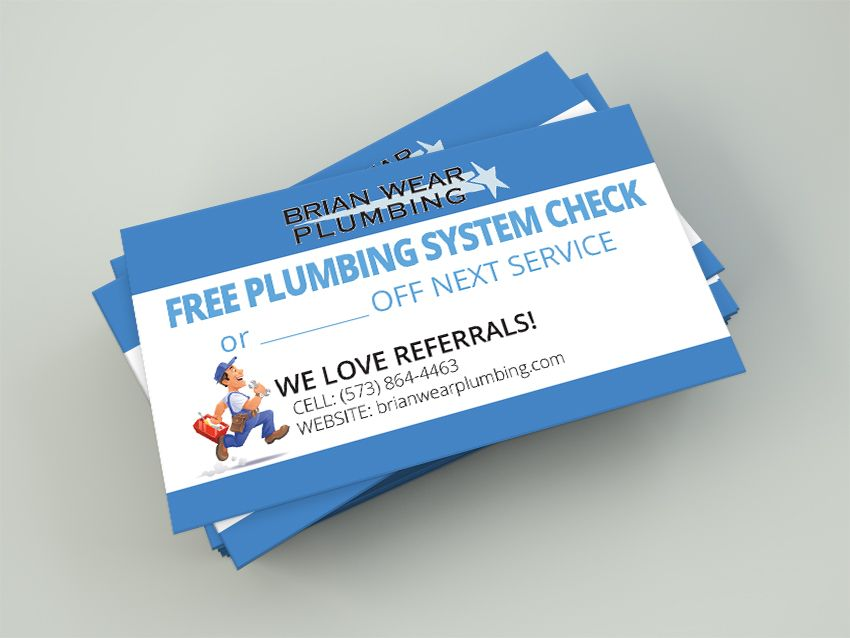 Plumbing Coupon Card for Referrals! | IB Branding Projects ...