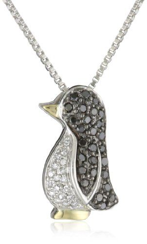 Xpy sterling silver and 14k yellow gold black and white diamond xpy sterling silver and 14k yellow gold black and white diamond penguin pendant necklace 023 cttw black diamonds and i j color i3 clarity aloadofball Choice Image