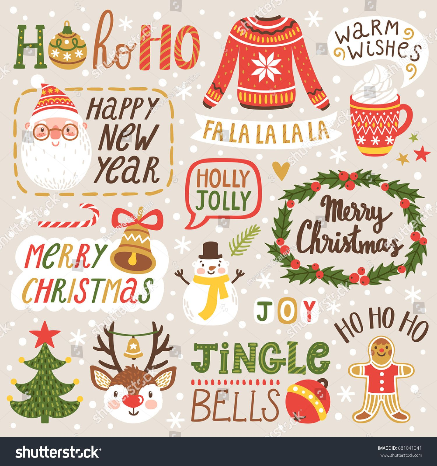 Vector Set Holiday Labels Hand Written Stock Vector (Royalty Free) 681041341