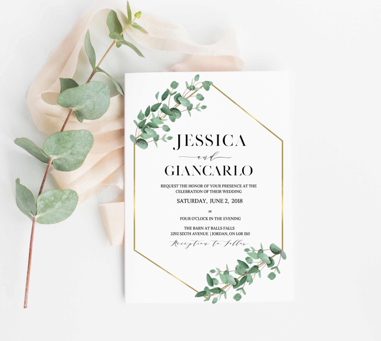 Eucalyptus Geometric Wedding Invitation, Eucalyptus Wedding