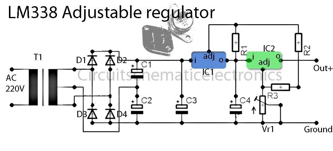 Lm338 Adjustable Power Supply Circuit Power Supply Circuit Electronic Circuit Projects Electronics Circuit