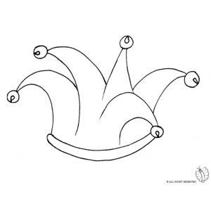 disegno di cappello giullare con campanellini da colorare
