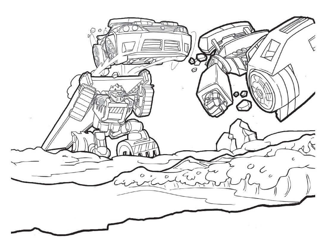 Rescue Bots In Action Coloring Page Coloring Pages Rescue Bots Cartoon Coloring Pages