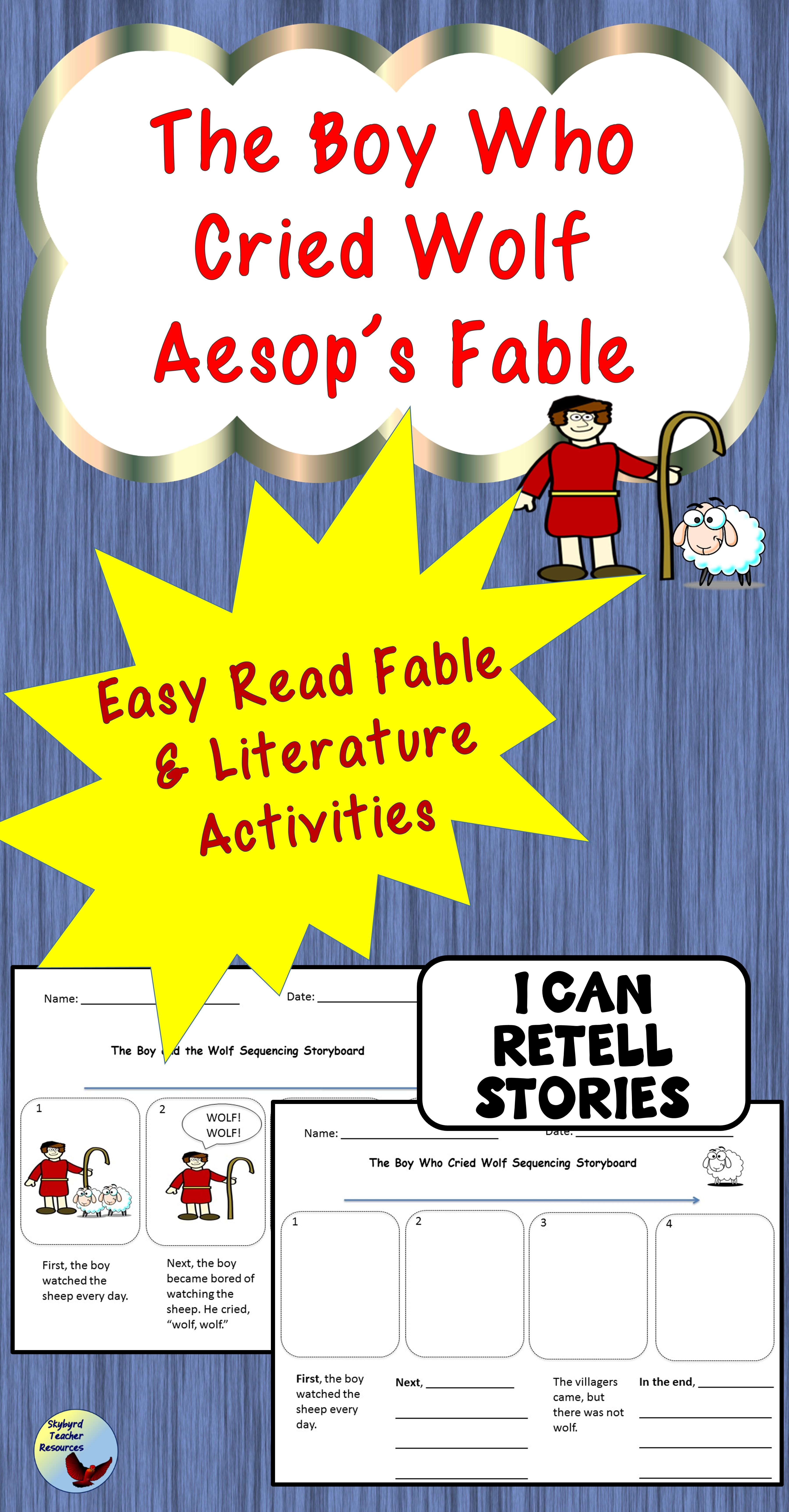 The Boy Who Cried Wolf Aesop S Fable Literature Activities Grade1 Grade 2 Esl Sped Fables Activities English Writing Exercises Literature Activities [ 6900 x 3600 Pixel ]