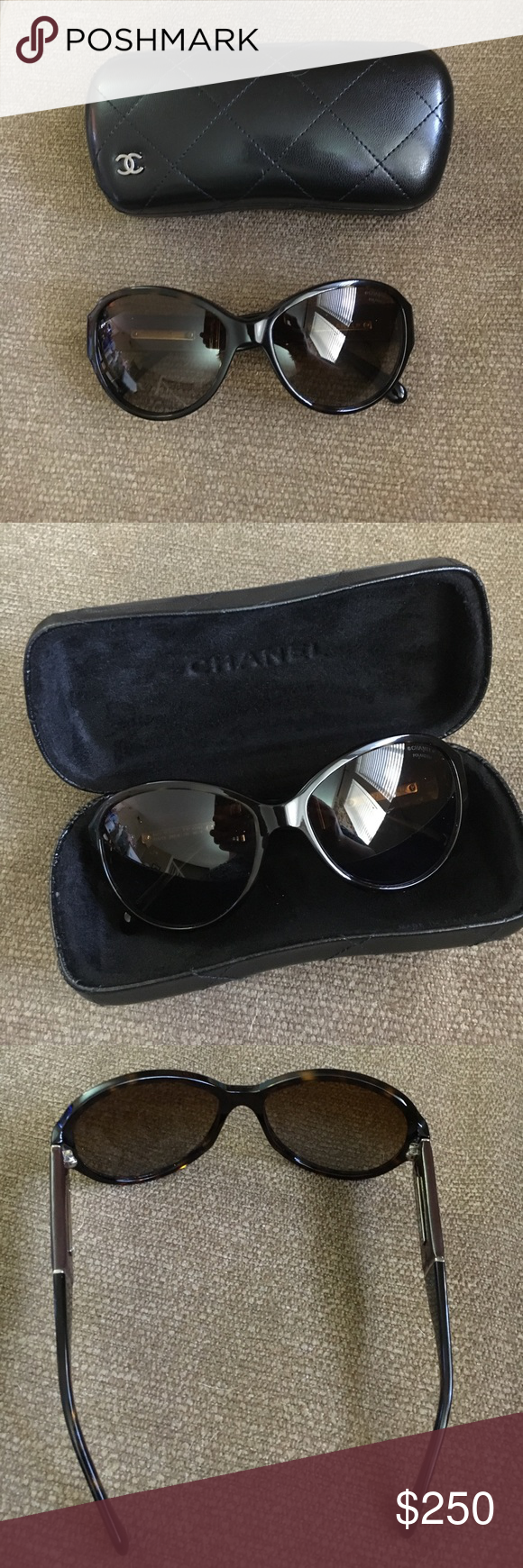 Chanel Sunglasses Tortoiseshell EUC Chanel 5229 large, round tortoiseshell sunglasses. Gradient lenses. Brown stems with White CC logo. In excellent used condition. No scratches on lenses. Case included. CHANEL Accessories Sunglasses