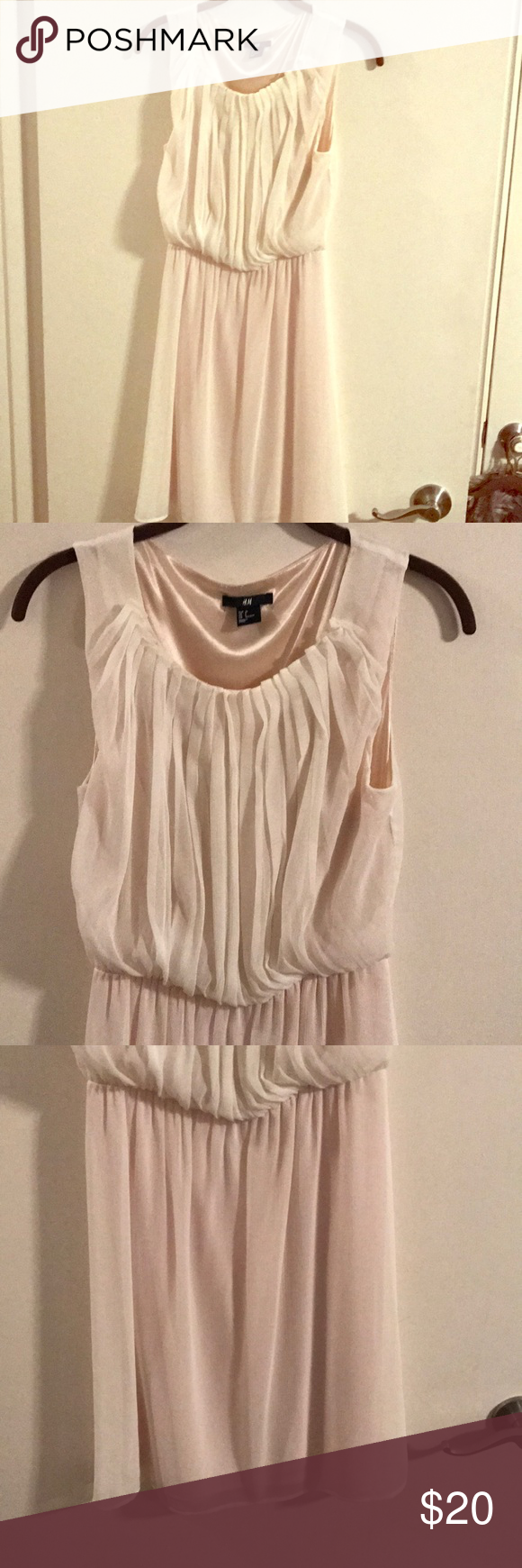 H&m pink pleated dress  HuM ivory lined dress Pleated top simple ivory dress Knee length