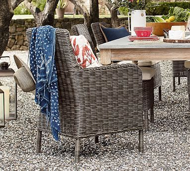 Huntington All Weather Wicker Dining Roll Arm Chair Gray Potterybarn Wicker Dining Armchair Outdoor Dining Chairs Wicker Dining Chairs