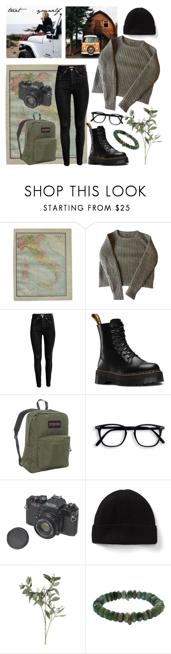 """love traveling 🌏🌿 treat yourself"" by lilyjey ❤ liked on Polyvore featuring Dr. Martens, JanSport, Sydney Evan and treatyourself"