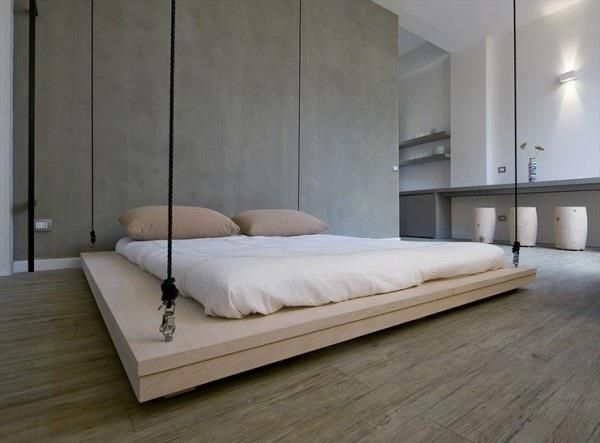 Hanging Bed Is This On A Pulley Setup So You Can Just Raise It Up Open Up Floor Space Better Than A Murp Bed Design Space Saving Furniture Space Saving Beds