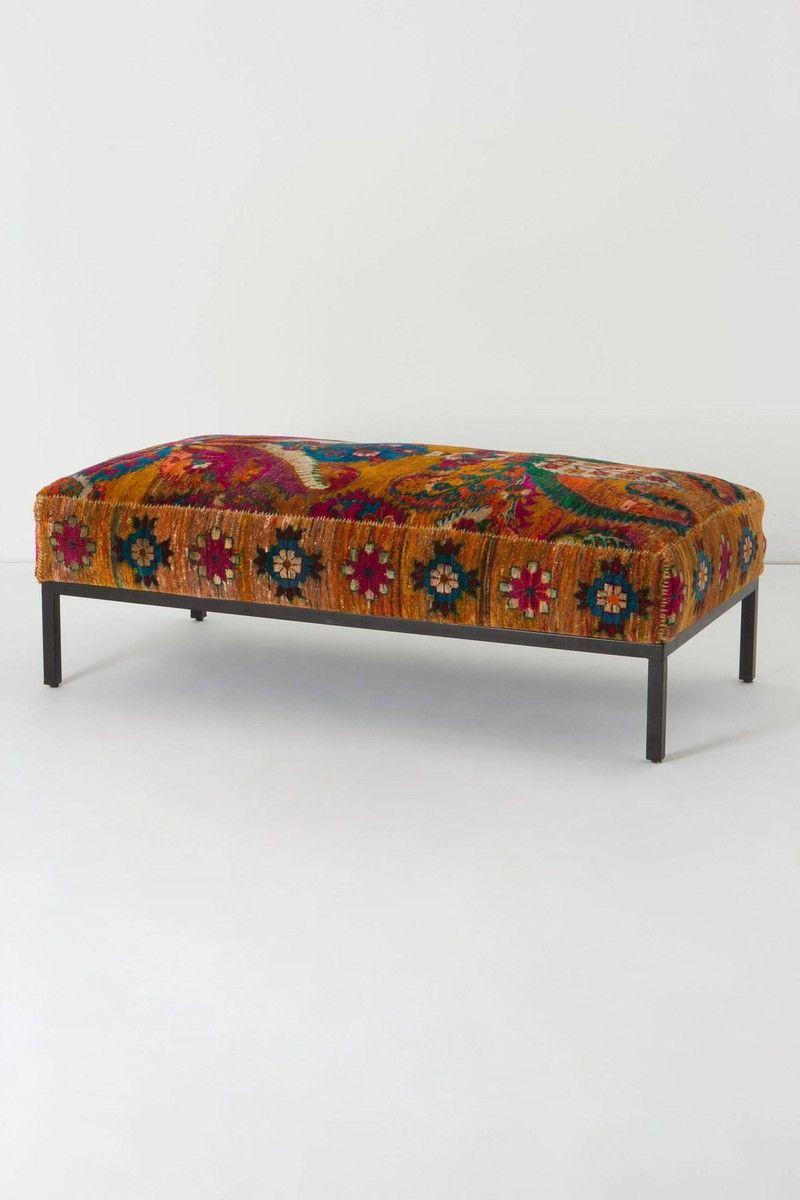 Anthropologie Olumes Rug Ottoman Kilim Ottoman Home Furniture