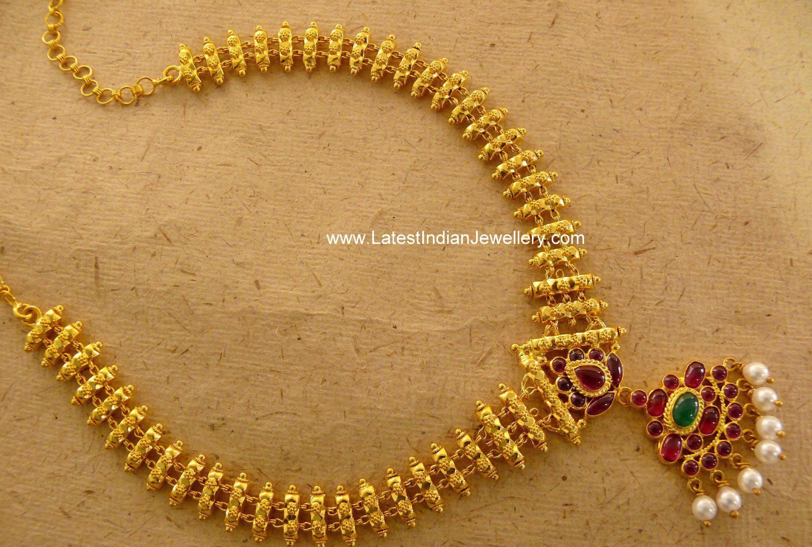 Lovely Hand Crafted Gold Necklace with Burma rubies Indian jewelry