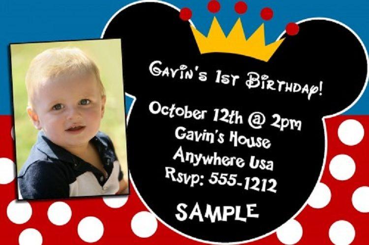 Mickey Mouse 1st Birthday Invitations Templates Party Invitation