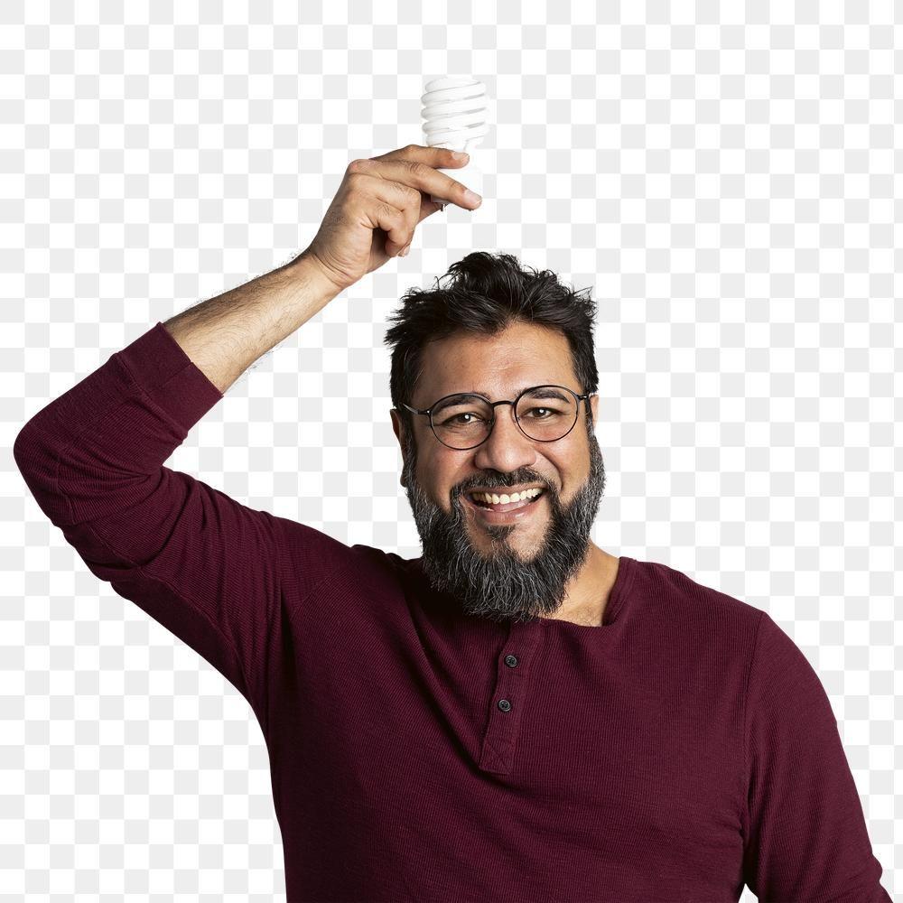 Download Premium Png Of Happy Indian Man Holding A Light Bulb Mockup Indian Man Light Bulb Png