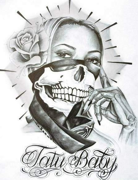 bd35c641babb2 Gangsta Bitch! Gangsta Bitch! Chicano Art Tattoos, Skull Tattoos, Tatu Baby  ...