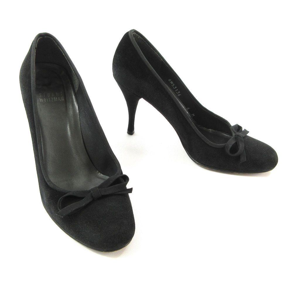 c64504c9b4a Stuart Weitzman Shoes 6 Black Suede Round Toe Bow Stiletto Heels Pumps  Spain  StuartWeitzman