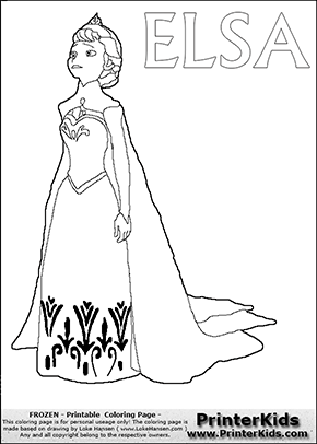 Coloring Page With ELSA From The 2013 Movie By DISNEY PIXAR Called FROZEN FROST In Several Countries As Well This For Printing Show Queen
