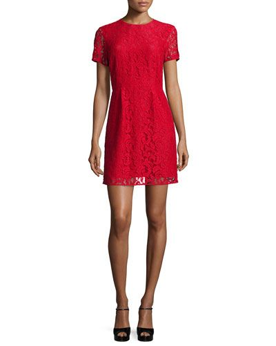 MICHAEL MICHAEL KORS Short-Sleeve Fitted Lace Dress. #michaelmichaelkors #cloth #