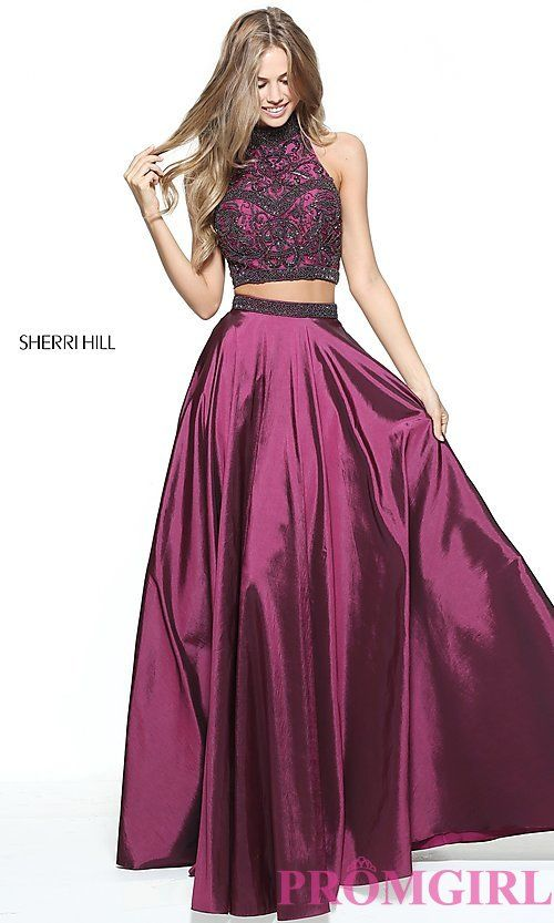 Image of Sherri Hill two-piece prom dress with beaded top. Style: SH ...