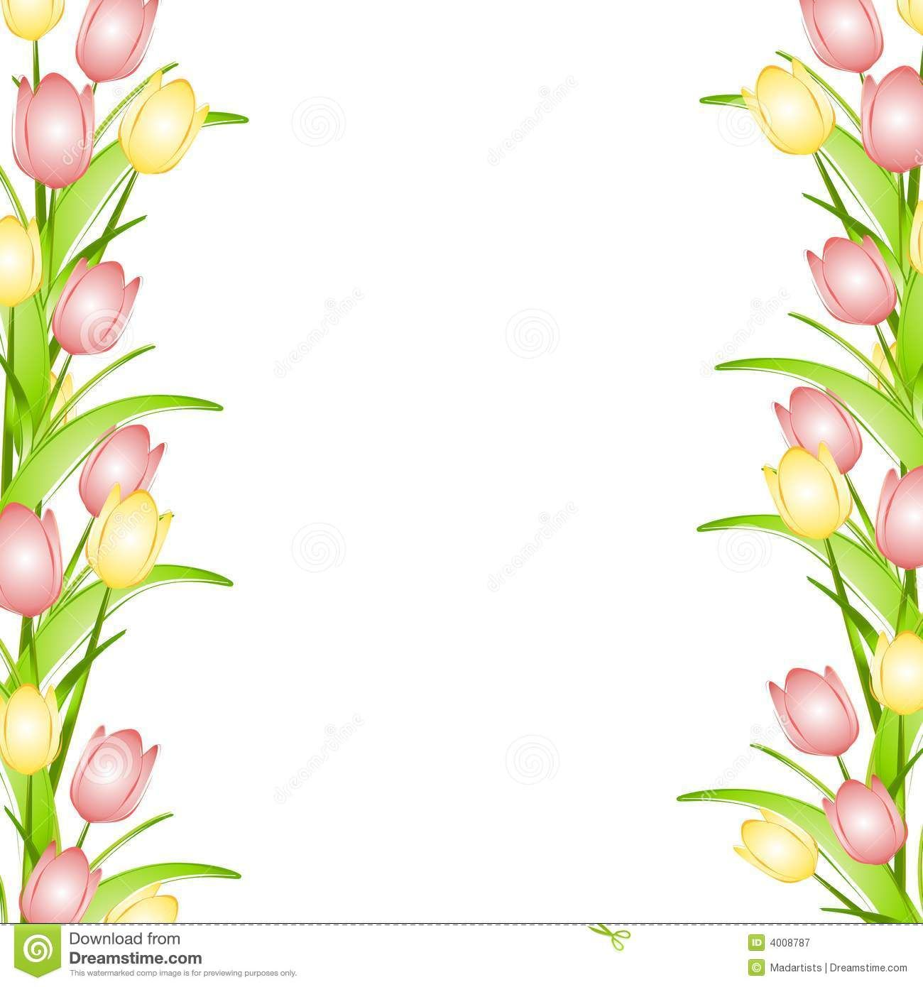 Pink Yellow Spring Tulips Flower Border Free Flower Clipart Flower Border Tulips Flowers