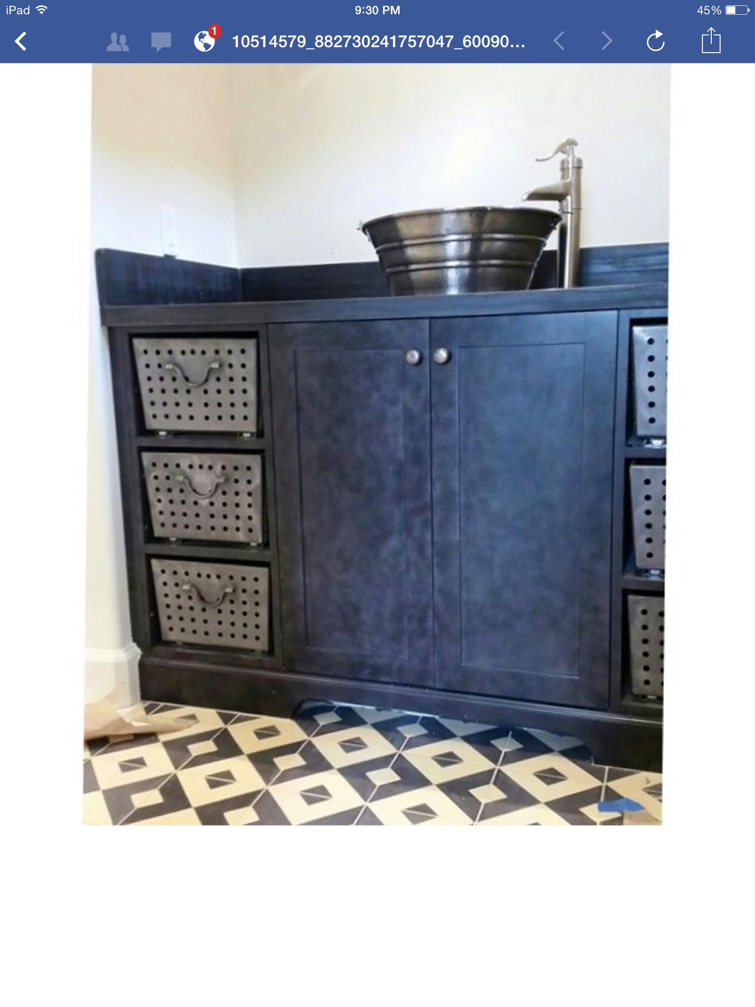 Industrial style bathroom vanity cabinet by www.denovocabinetry.com