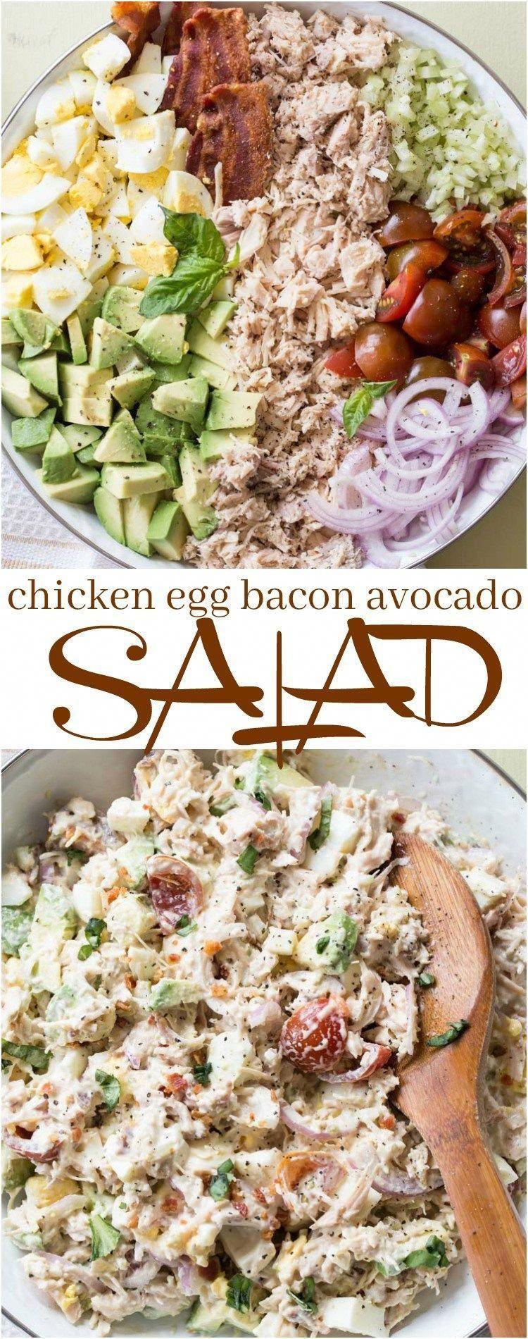 Chicken Avocado Egg Bacon Salad -
