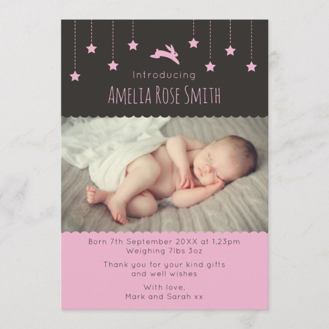 new baby girl announcementthank you card a5  zazzle