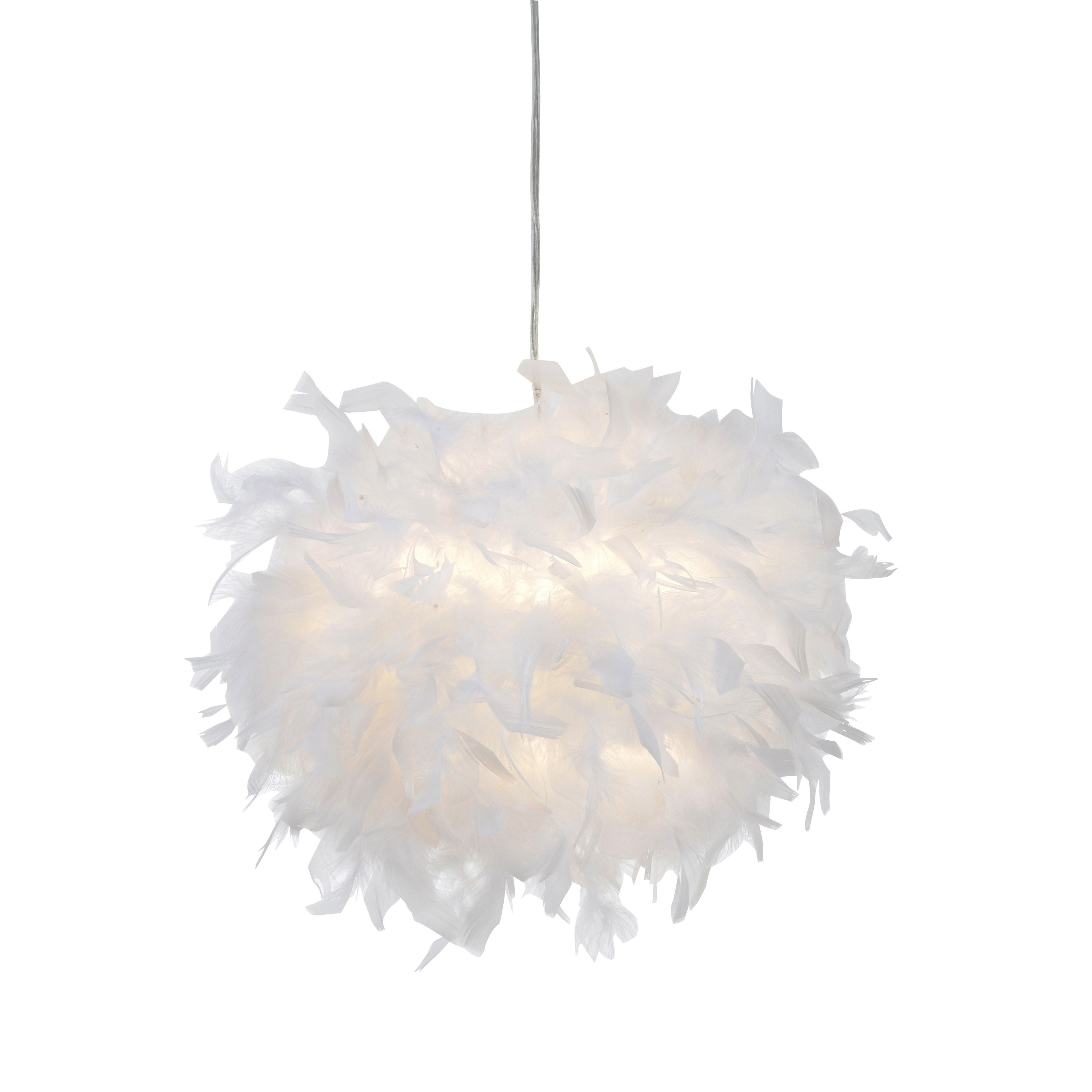 Colours Melito White Feather Ball Light Shade (D)250mm | White ...