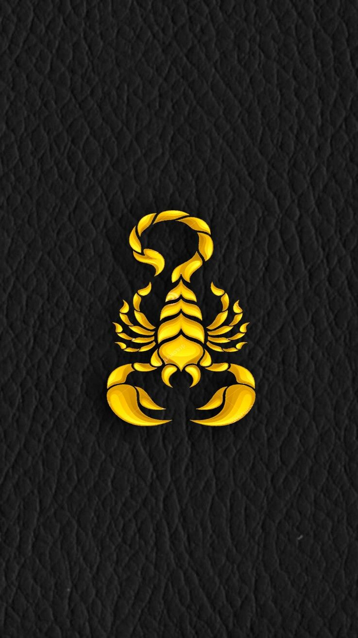 Gold Scorpion Symbol On Soft Black Leather IPhone Wallpaper Android
